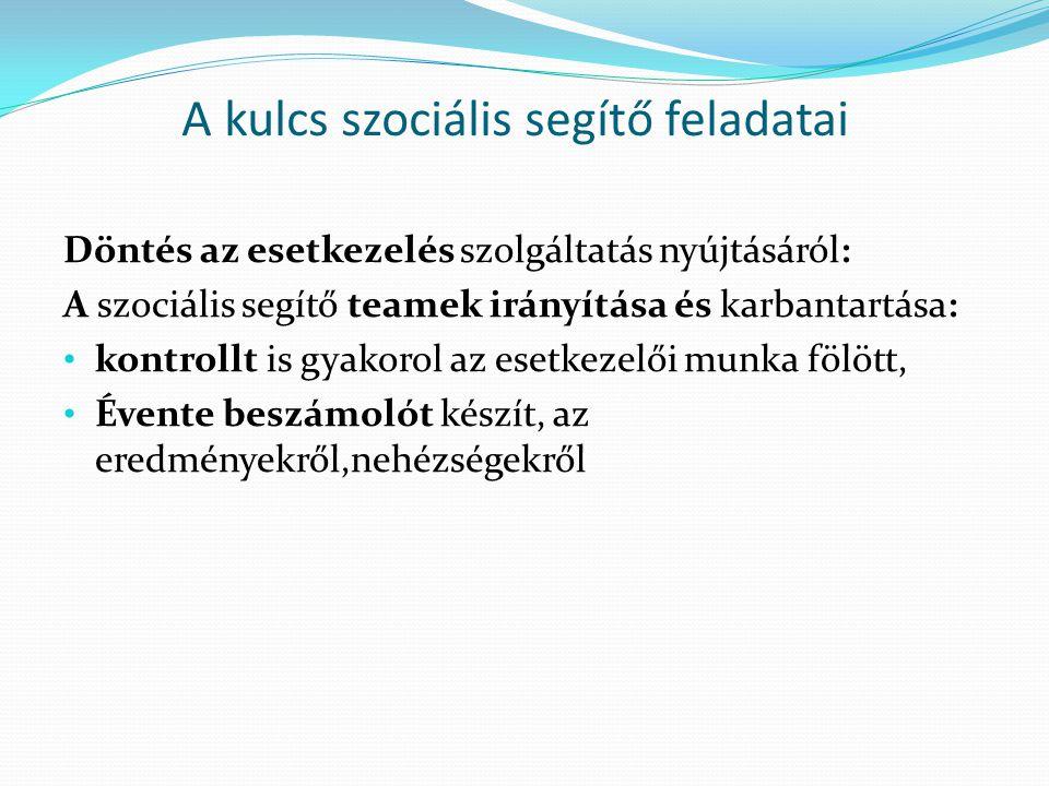 A kulcs szociális segítő feladatai Döntés az esetkezelés szolgáltatás nyújtásáról: A szociális segítő teamek irányítása és karbantartása: kontrollt is