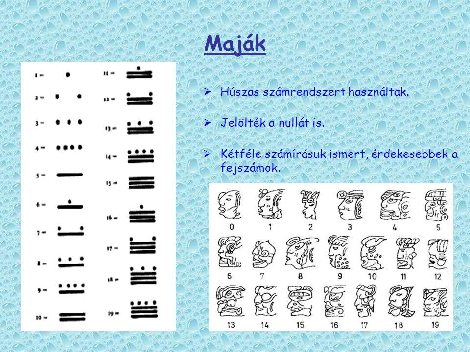 Maják  Húszas számrendszert használtak.  Jelölték a nullát is.  Kétféle számírásuk ismert, érdekesebbek a fejszámok.