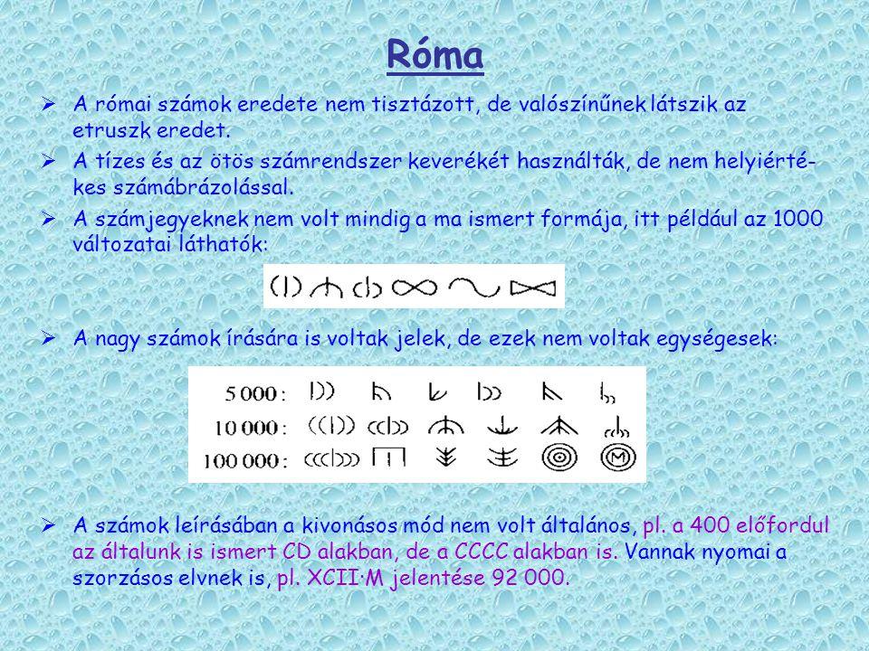 Róma  A római számok eredete nem tisztázott, de valószínűnek látszik az etruszk eredet.  A tízes és az ötös számrendszer keverékét használták, de ne
