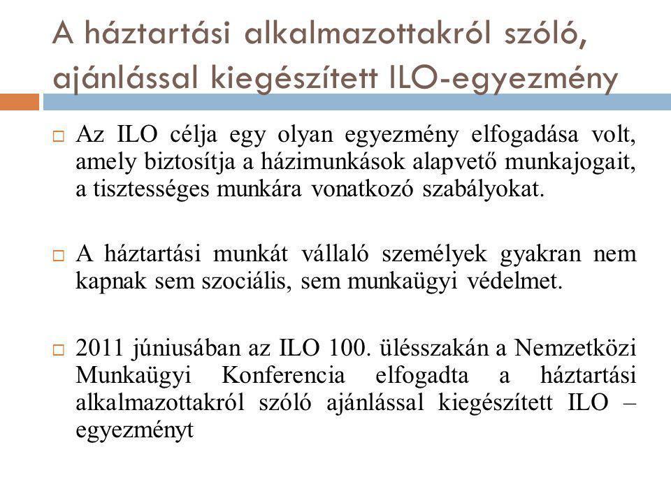 A háztartási alkalmazottakról szóló, ajánlással kiegészített ILO-egyezmény  Az ILO célja egy olyan egyezmény elfogadása volt, amely biztosítja a házi