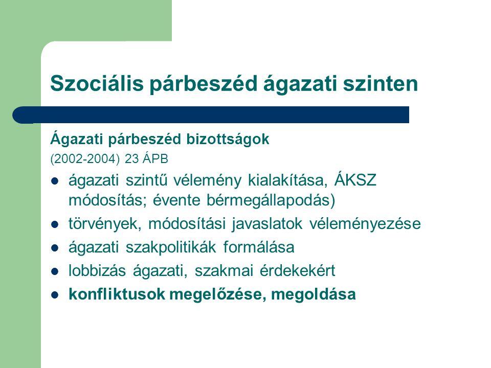 Szociális párbeszéd ágazati szinten Ágazati párbeszéd bizottságok (2002-2004) 23 ÁPB ágazati szintű vélemény kialakítása, ÁKSZ módosítás; évente bérme
