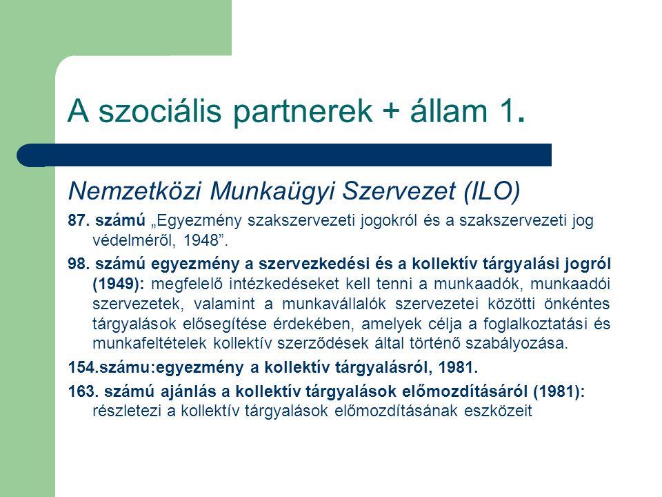 """A szociális partnerek + állam 1. Nemzetközi Munkaügyi Szervezet (ILO) 87. számú """"Egyezmény szakszervezeti jogokról és a szakszervezeti jog védelméről,"""