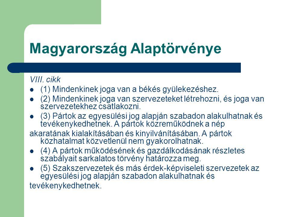 Magyarország Alaptörvénye VIII. cikk (1) Mindenkinek joga van a békés gyülekezéshez. (2) Mindenkinek joga van szervezeteket létrehozni, és joga van sz