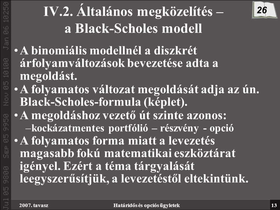 2007. tavaszHatáridős és opciós ügyletek13 IV.2.