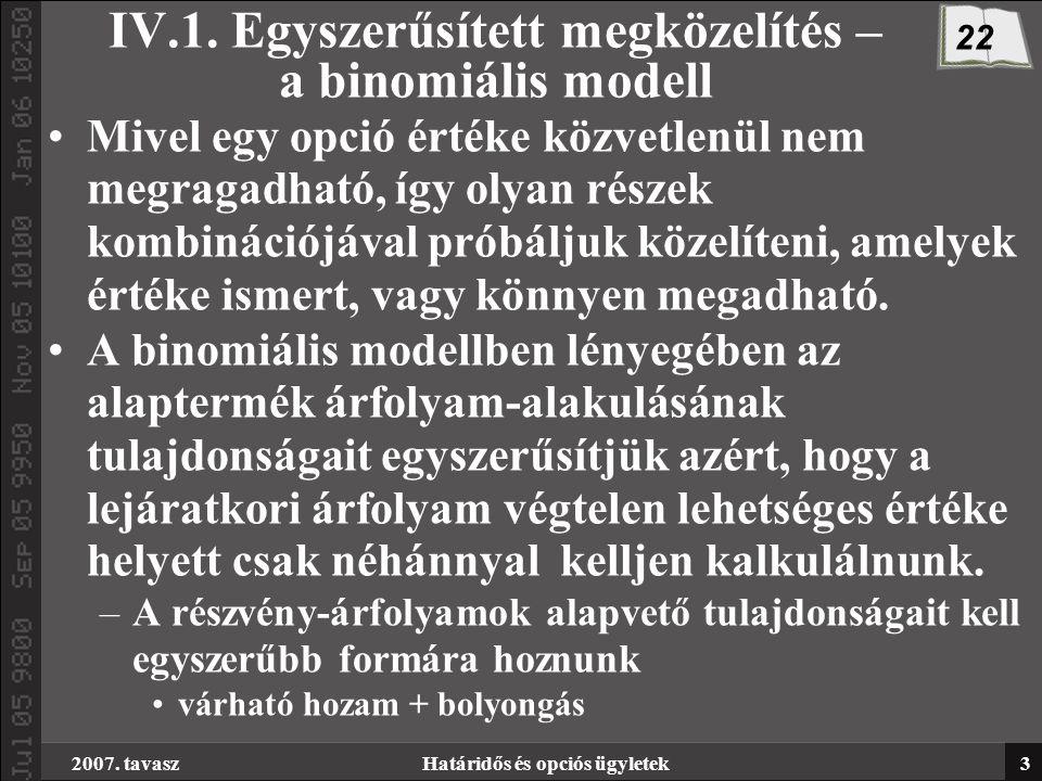 2007. tavaszHatáridős és opciós ügyletek3 IV.1. Egyszerűsített megközelítés – a binomiális modell Mivel egy opció értéke közvetlenül nem megragadható,