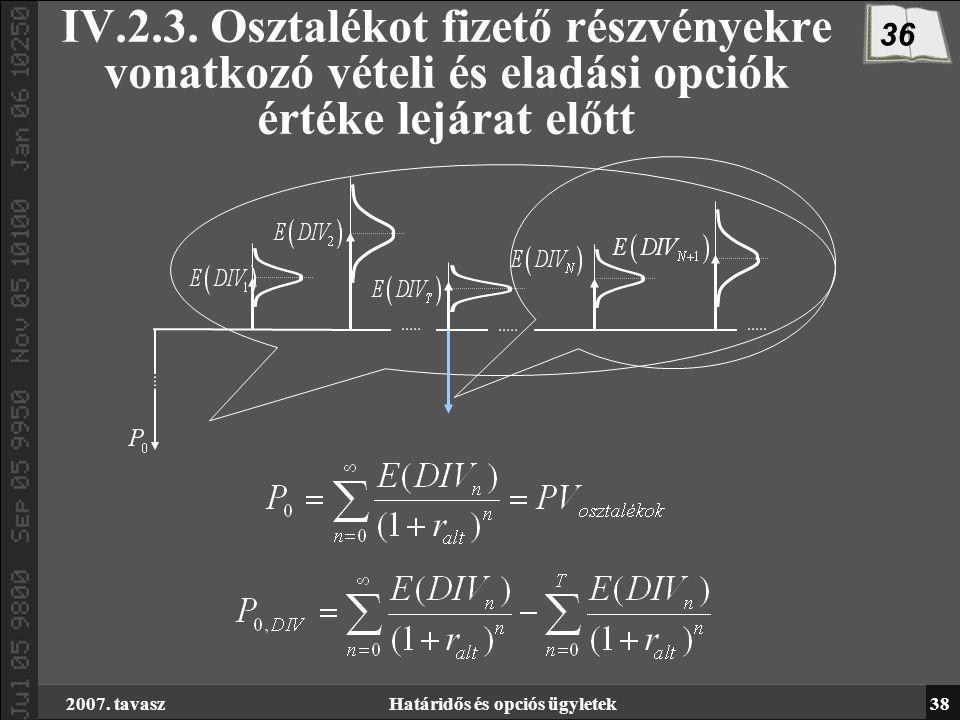 2007. tavaszHatáridős és opciós ügyletek38 IV.2.3.