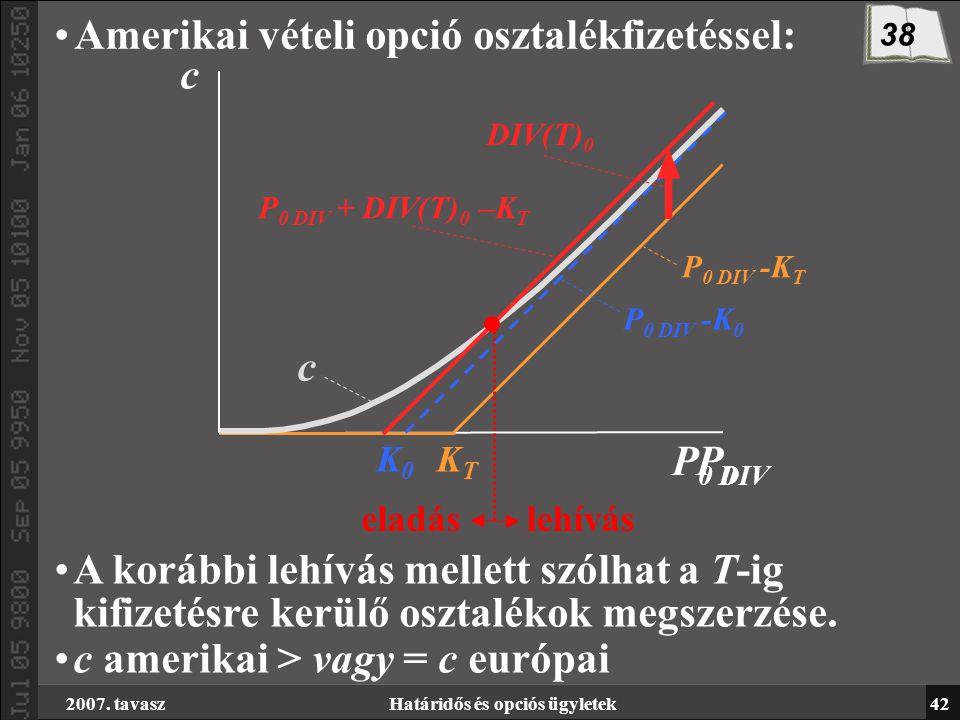 2007. tavaszHatáridős és opciós ügyletek42 Amerikai vételi opció osztalékfizetéssel: P0P0 K0K0 c KTKT c P 0 DIV P 0 DIV -K T P 0 DIV -K 0 P 0 DIV + DI