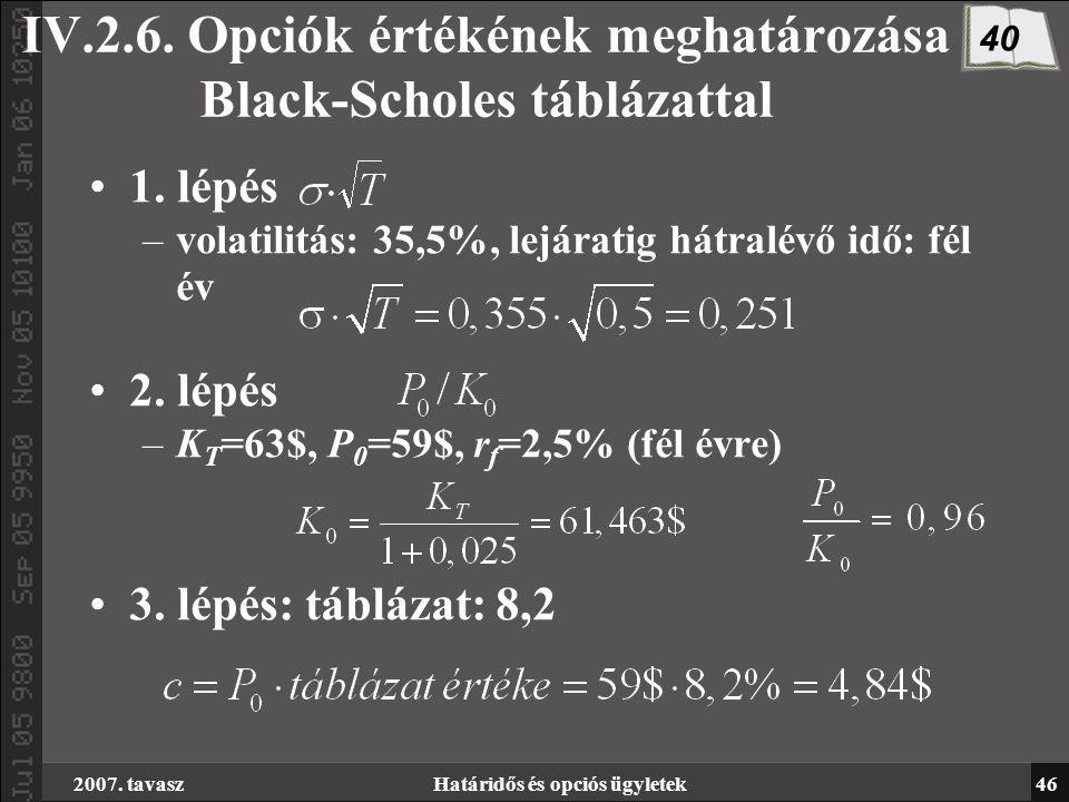 2007. tavaszHatáridős és opciós ügyletek46 IV.2.6. Opciók értékének meghatározása Black-Scholes táblázattal 1. lépés –volatilitás: 35,5%, lejáratig há