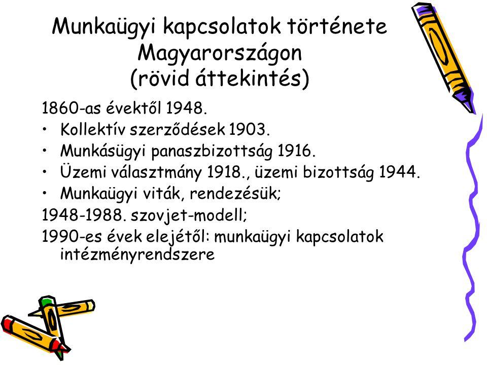 Munkaügyi kapcsolatok története Magyarországon (rövid áttekintés) 1860-as évektől 1948.