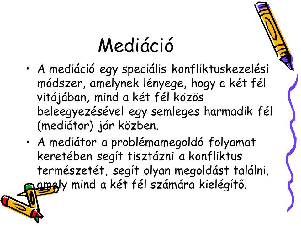 Mediáció A mediáció egy speciális konfliktuskezelési módszer, amelynek lényege, hogy a két fél vitájában, mind a két fél közös beleegyezésével egy semleges harmadik fél (mediátor) jár közben.
