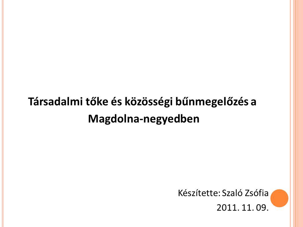 Társadalmi tőke és közösségi bűnmegelőzés a Magdolna-negyedben Készítette: Szaló Zsófia 2011. 11. 09.