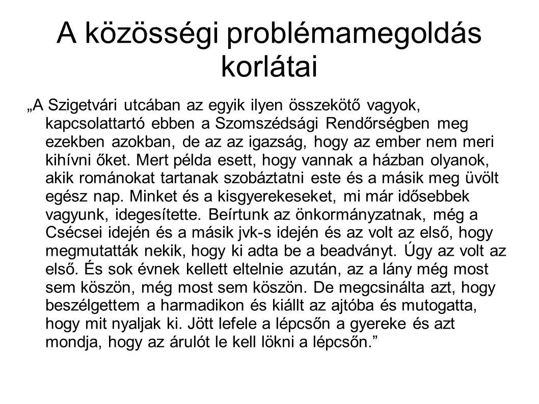 """A közösségi problémamegoldás korlátai """"A Szigetvári utcában az egyik ilyen összekötő vagyok, kapcsolattartó ebben a Szomszédsági Rendőrségben meg ezek"""