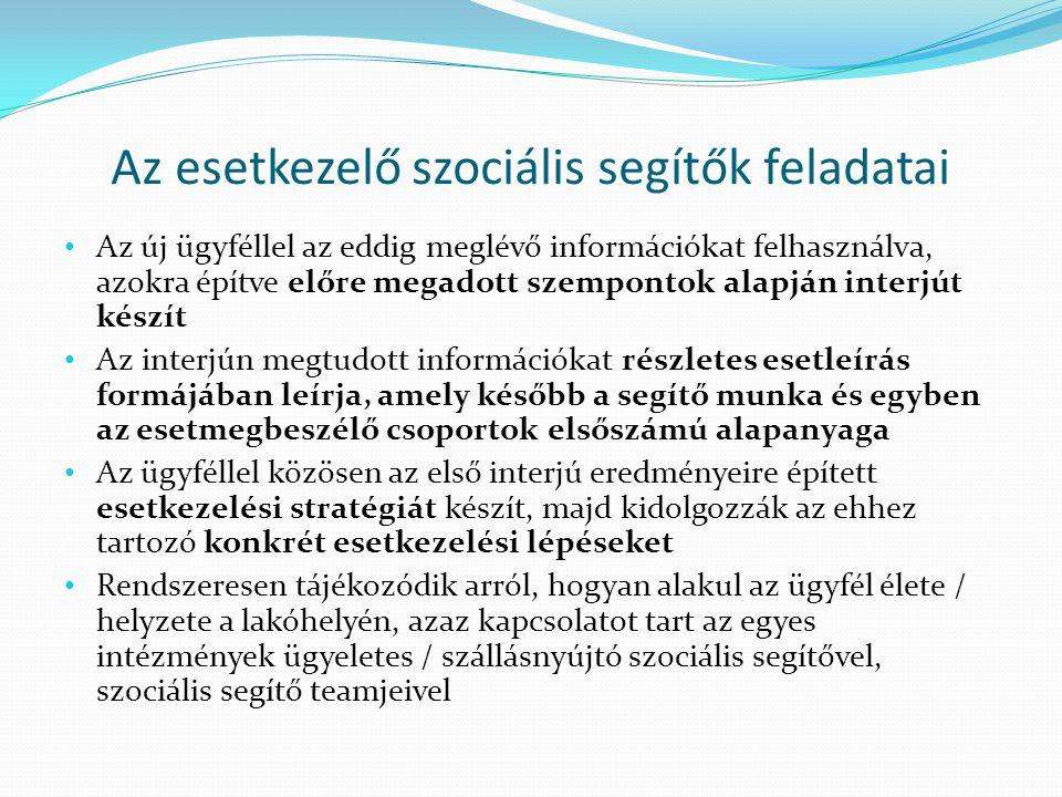 Az esetkezelő szociális segítők feladatai Az új ügyféllel az eddig meglévő információkat felhasználva, azokra építve előre megadott szempontok alapján