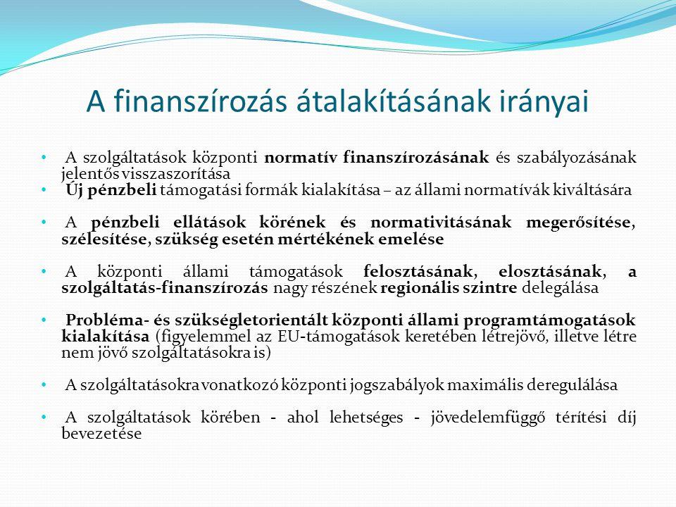 A finanszírozás átalakításának irányai A szolgáltatások központi normatív finanszírozásának és szabályozásának jelentős visszaszorítása Új pénzbeli támogatási formák kialakítása – az állami normatívák kiváltására A pénzbeli ellátások körének és normativitásának megerősítése, szélesítése, szükség esetén mértékének emelése A központi állami támogatások felosztásának, elosztásának, a szolgáltatás-finanszírozás nagy részének regionális szintre delegálása Probléma- és szükségletorientált központi állami programtámogatások kialakítása (figyelemmel az EU-támogatások keretében létrejövő, illetve létre nem jövő szolgáltatásokra is) A szolgáltatásokra vonatkozó központi jogszabályok maximális deregulálása A szolgáltatások körében - ahol lehetséges - jövedelemfüggő térítési díj bevezetése
