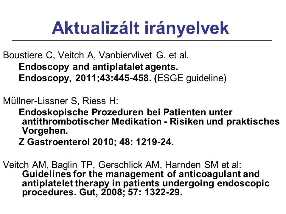 Aktualizált irányelvek Boustiere C, Veitch A, Vanbiervlivet G. et al. Endoscopy and antiplatalet agents. Endoscopy, 2011;43:445-458. (ESGE guideline)