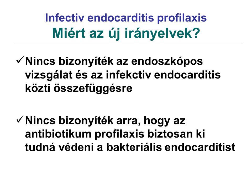 Infectiv endocarditis profilaxis Miért az új irányelvek? Nincs bizonyíték az endoszkópos vizsgálat és az infekctiv endocarditis közti összefüggésre Ni