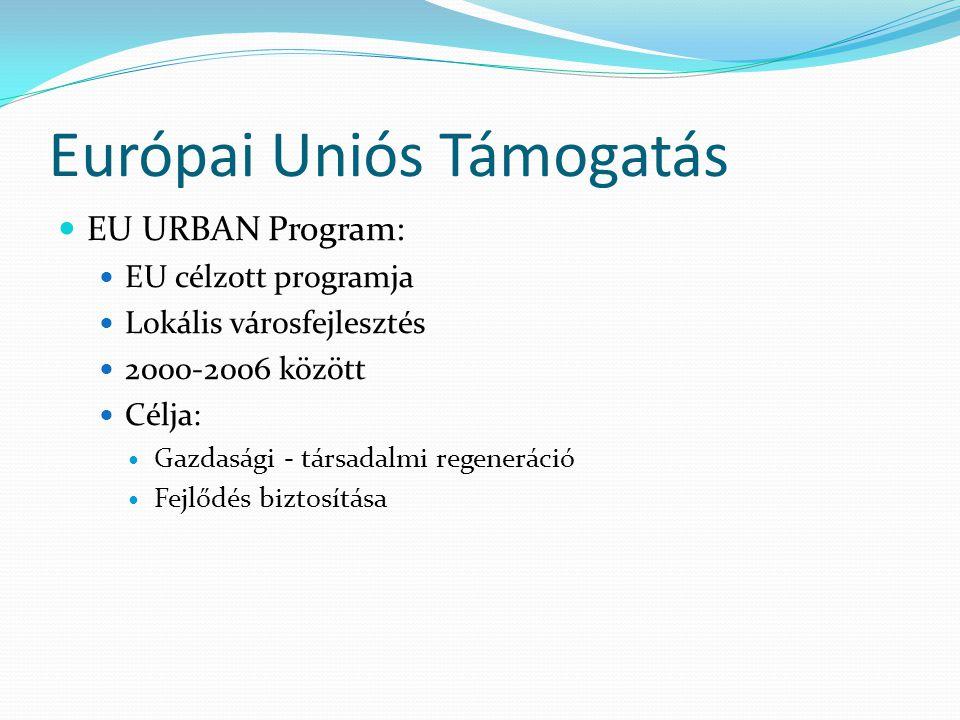 Európai Uniós Támogatás EU URBAN Program: EU célzott programja Lokális városfejlesztés 2000-2006 között Célja: Gazdasági - társadalmi regeneráció Fejlődés biztosítása