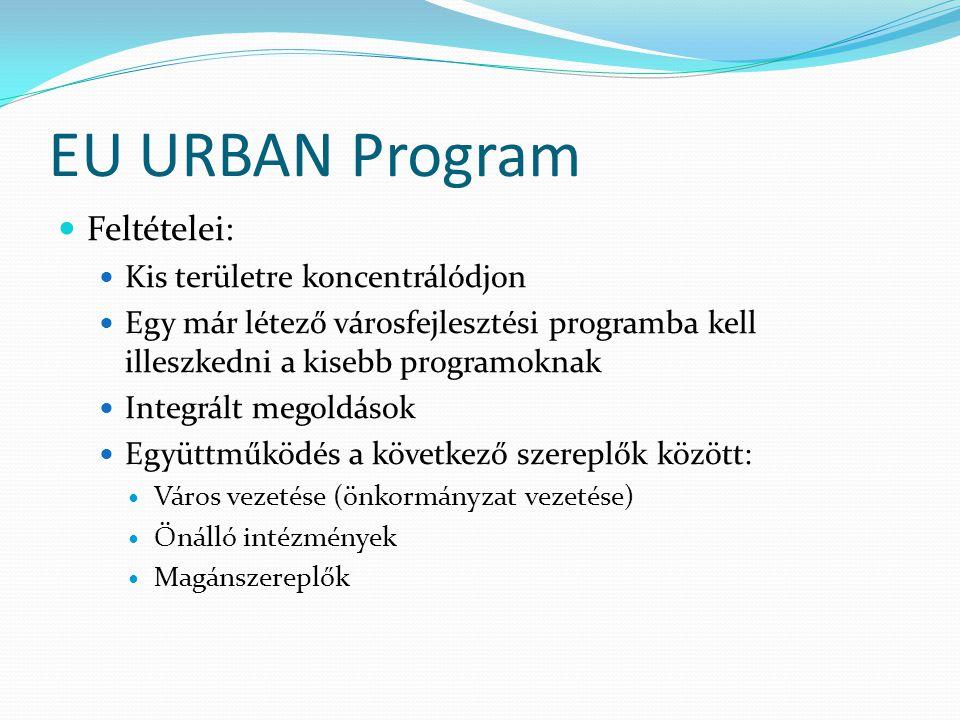 EU URBAN Program Feltételei: Kis területre koncentrálódjon Egy már létező városfejlesztési programba kell illeszkedni a kisebb programoknak Integrált megoldások Együttműködés a következő szereplők között: Város vezetése (önkormányzat vezetése) Önálló intézmények Magánszereplők