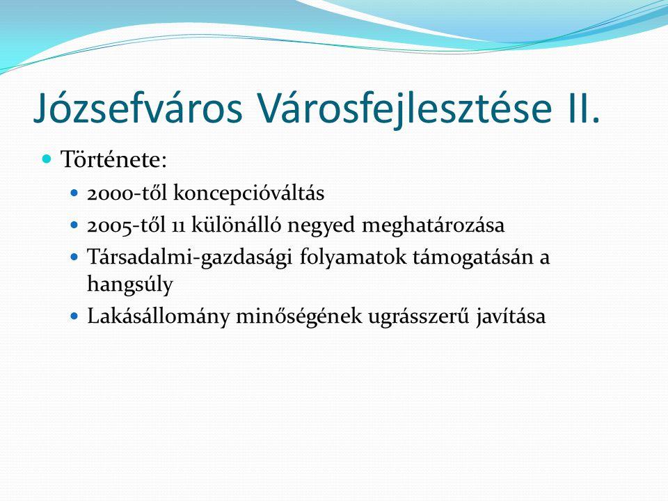 A Magdolna-negyed Társadalmi összetétele: Magas a munkanélküliség Magas az általános iskolai végzettséggel sem rendelkezők aránya   alacsony a felsőfokú végzettségűek aránya Rendszeres a kábítószer-használók jelenléte Nagy számú leromlott állapotú lakóépület Összefoglalva: Budapest egyik leghátrányosabb helyzetű területe
