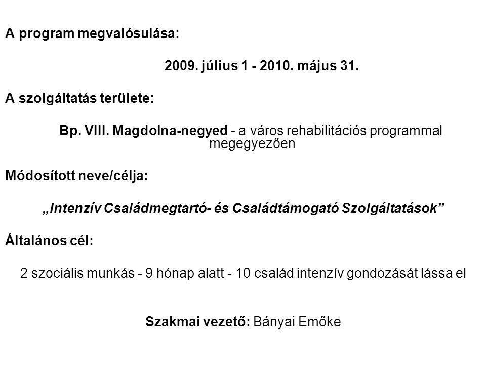 A program megvalósulása: 2009. július 1 - 2010. május 31. A szolgáltatás területe: Bp. VIII. Magdolna-negyed - a város rehabilitációs programmal megeg