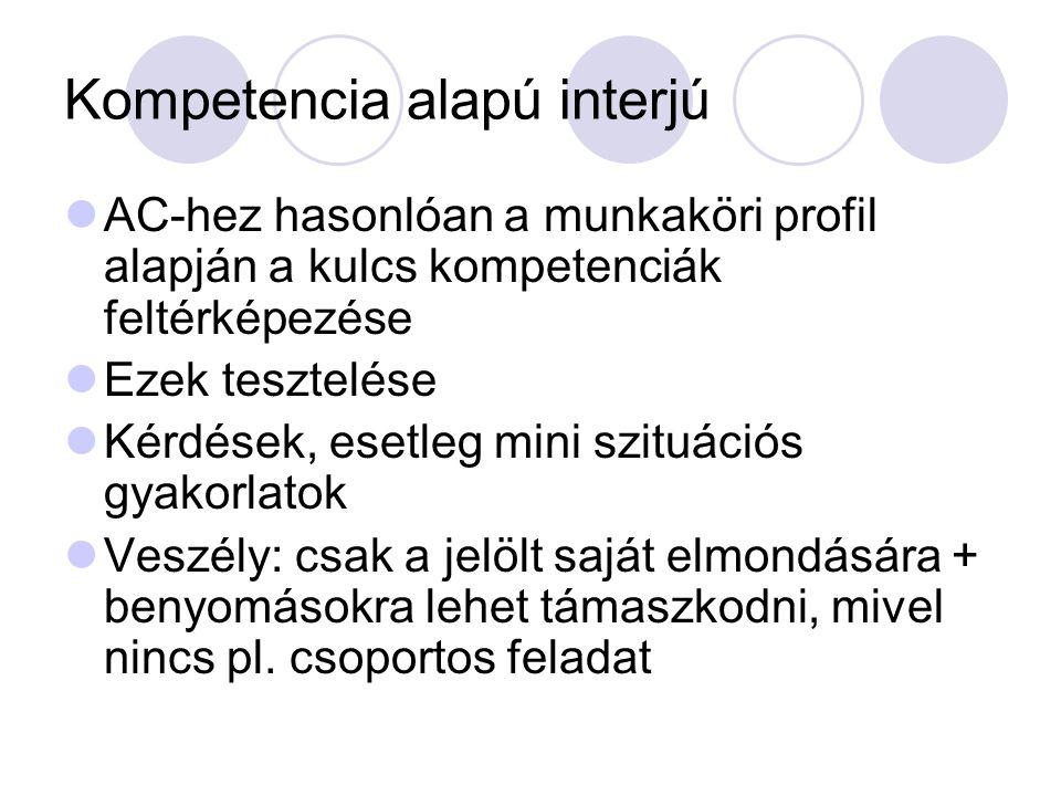 Kompetencia alapú interjú AC-hez hasonlóan a munkaköri profil alapján a kulcs kompetenciák feltérképezése Ezek tesztelése Kérdések, esetleg mini szitu