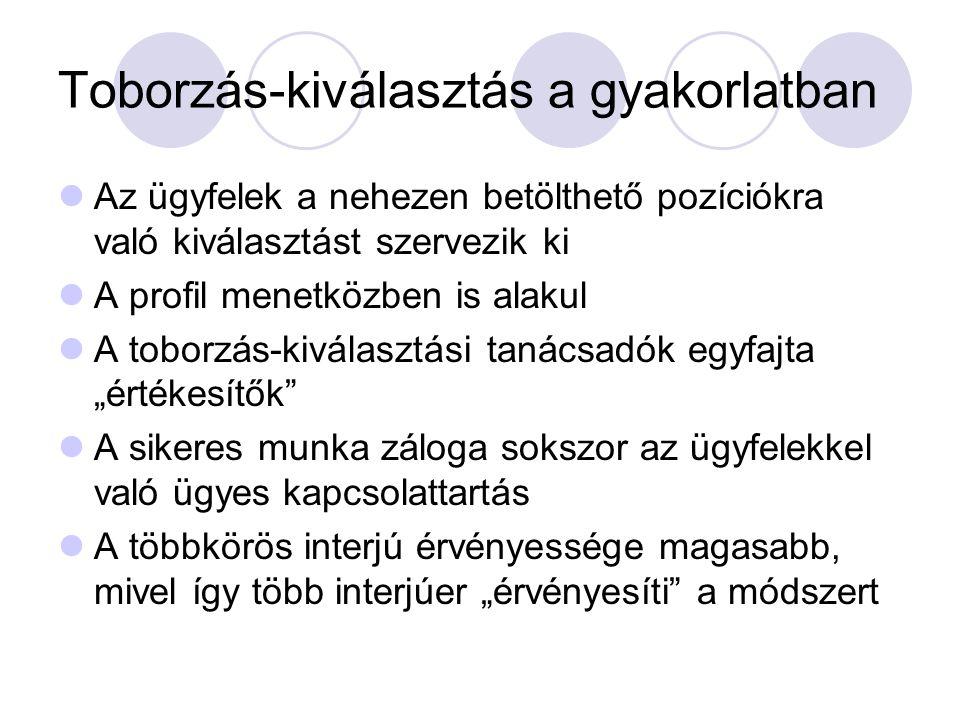 Hivatkozások Juhász Márta (2006): A kiválasztás és a munkaköri alkalmasság pszichológiája.