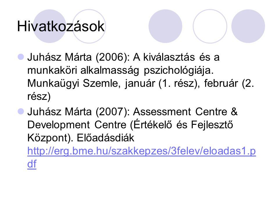 Hivatkozások Juhász Márta (2006): A kiválasztás és a munkaköri alkalmasság pszichológiája. Munkaügyi Szemle, január (1. rész), február (2. rész) Juhás