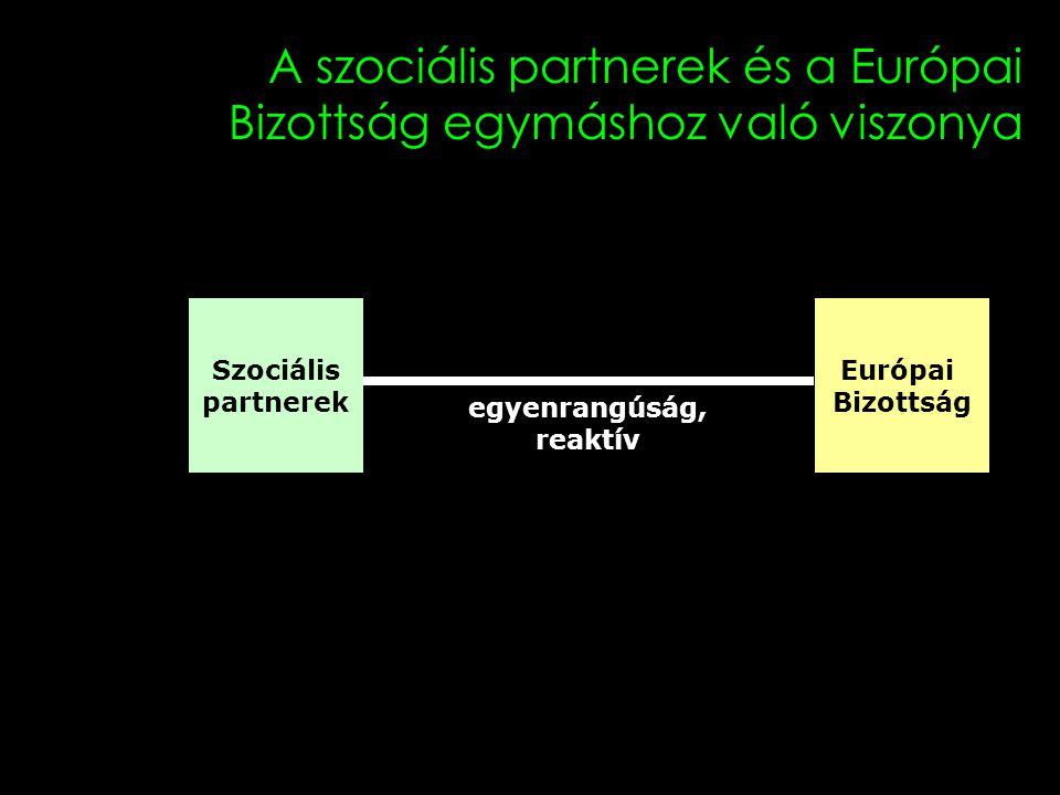 12 A szociális partnerek és a Európai Bizottság egymáshoz való viszonya Szociális partnerek Európai Bizottság egyenrangúság, reaktív