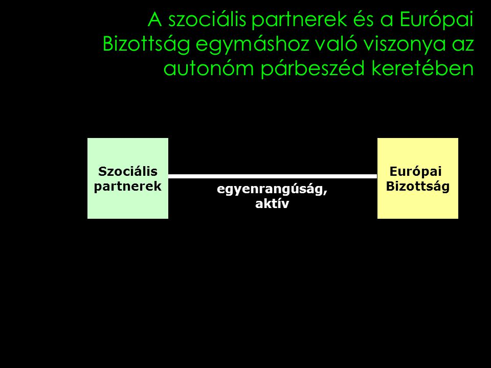 15 A szociális partnerek és a Európai Bizottság egymáshoz való viszonya az autonóm párbeszéd keretében Szociális partnerek Európai Bizottság egyenrangúság, aktív