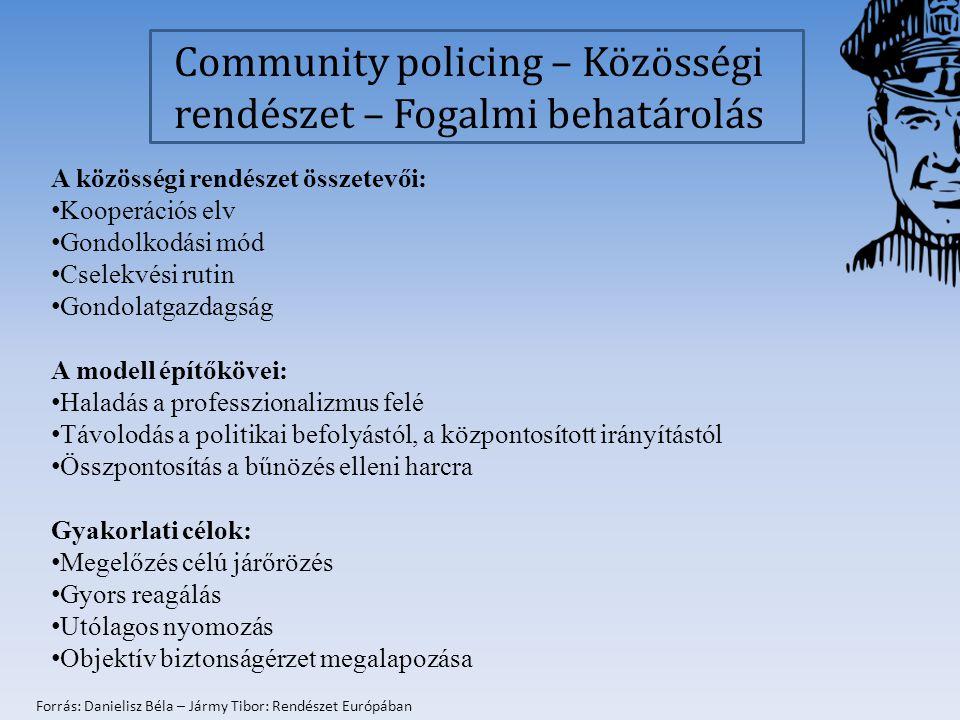 kanadai modell: A rendészet legalapvetőbb funkciója: biztonság feletti őrködés Veszélyek azonosítása érdekében állandó párbeszéd a közösséggel Kooperáció más a közbiztonságért felelős szervekkel Generális szaktudás szükséges Szervezete legyen decentralizált, melyet az önkormányzat irányít és amely civil ellenőrzés alatt áll A közösségi rendőrök számára a hétköznapi tapasztalatok a legértékesebbek (Az olyan veszélyforrásokra, mint a közterületek elhanyagoltsága, a szemetelés, a nyilvános alkoholfogyasztás, a graffiti, az elhagyott, üres ingatlanok lepusztulása, a csavargás, a koldulás, az iskolakerülő gyerekek, a családon belüli erőszak, a drogfogyasztás, azonnal reagálni kell.
