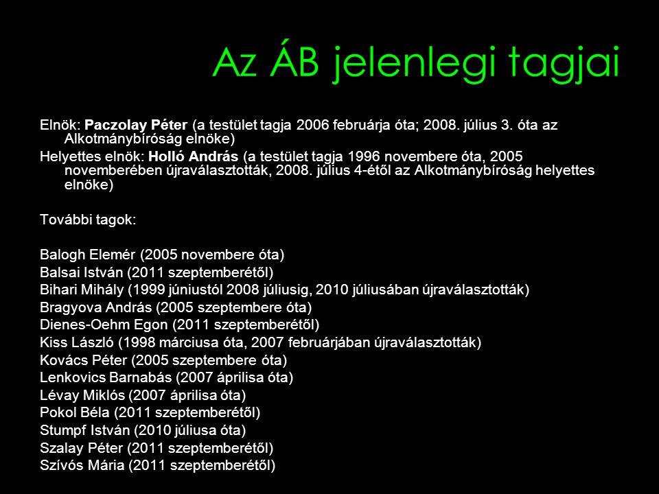 Az ÁB eddigi elnökei IdőtartamElnök 1990-1998Sólyom László 1998-2003Németh János 2003-2005Holló András 2005-2008Bihari Mihály 2008-Paczolay Péter
