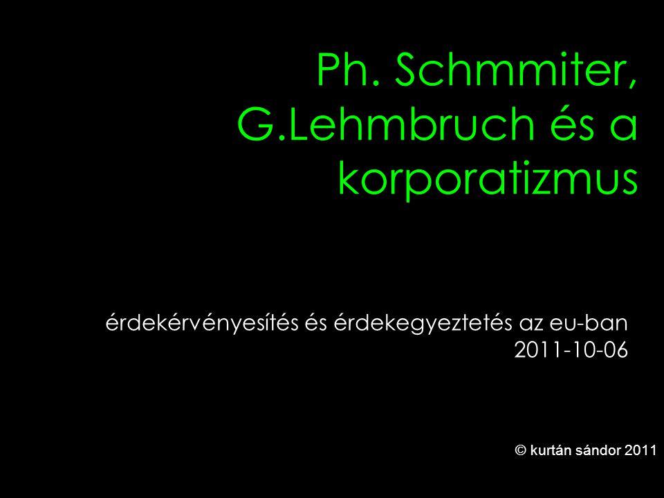 1 Ph. Schmmiter, G.Lehmbruch és a korporatizmus © kurtán sándor 2011 érdekérvényesítés és érdekegyeztetés az eu-ban 2011-10-06