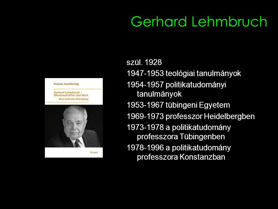 11 Gerhard Lehmbruch szül. 1928 1947-1953 teológiai tanulmányok 1954-1957 politikatudományi tanulmányok 1953-1967 tübingeni Egyetem 1969-1973 professz