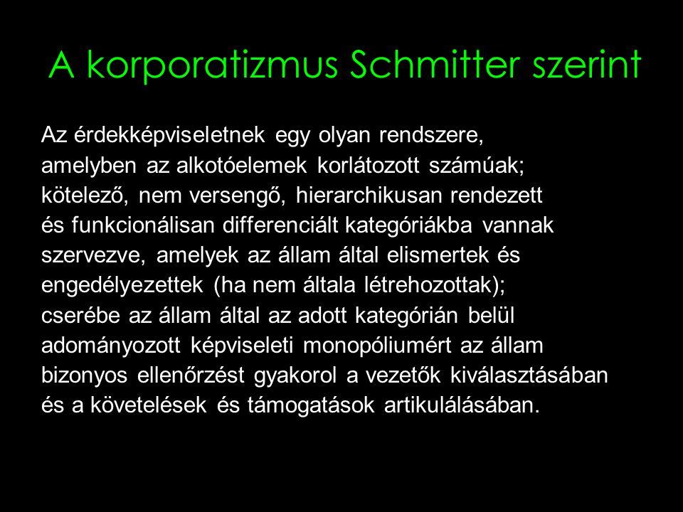 7 A pluralizmus Schmitter szerint Az érdekképviseletnek egy olyan rendszere, amelyben az alkotóelemek határozatlan számúak; önkéntes, kompetitív, nem hierarchikusan rendezett és önmaguk által meghatározott kategóriákba vannak szervezve, melyeket az állam nem engedélyezett speciálisan, nem is hozott létre, vezetőik kiválasztását vagy érdekartikulációjukat nem ellenőrzi és amely szervezetek nem rendelkeznek monopóliummal a megfelelő kategórián belül.