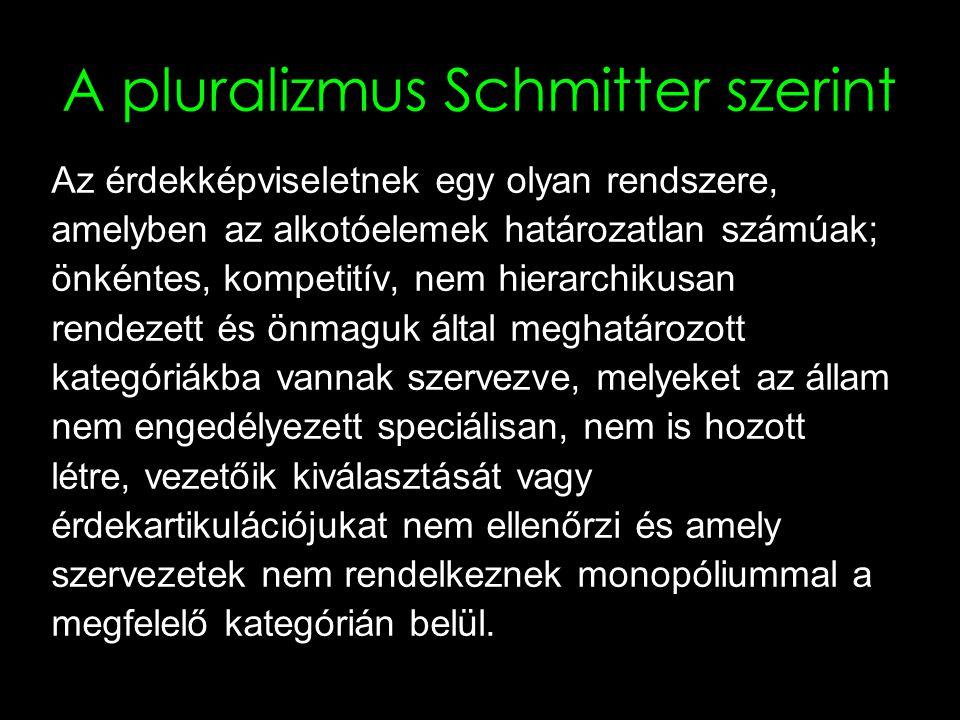 7 A pluralizmus Schmitter szerint Az érdekképviseletnek egy olyan rendszere, amelyben az alkotóelemek határozatlan számúak; önkéntes, kompetitív, nem