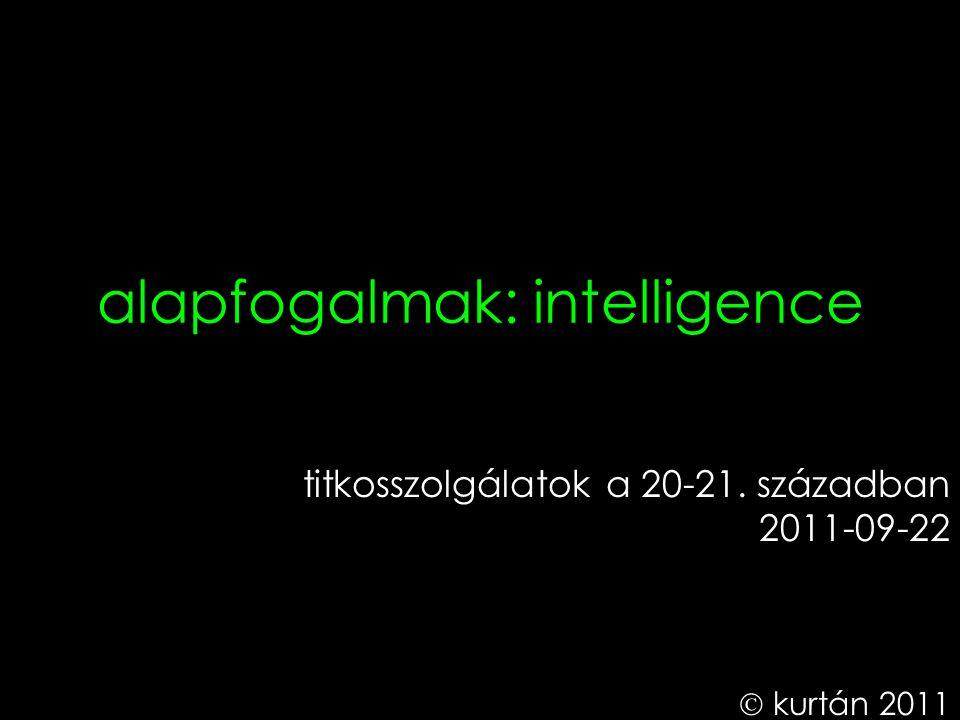 alapfogalmak: intelligence titkosszolgálatok a 20-21. században 2011-09-22  kurtán 2011