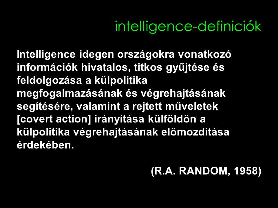 intelligence-definiciók Intelligence idegen országokra vonatkozó információk hivatalos, titkos gyűjtése és feldolgozása a külpolitika megfogalmazásának és végrehajtásának segítésére, valamint a rejtett műveletek [covert action] irányítása külföldön a külpolitika végrehajtásának előmozdítása érdekében.