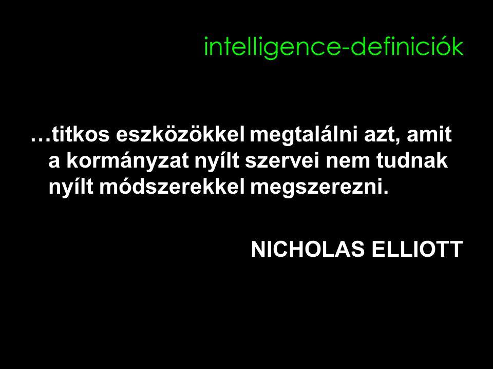 intelligence-definiciók …titkos eszközökkel megtalálni azt, amit a kormányzat nyílt szervei nem tudnak nyílt módszerekkel megszerezni.