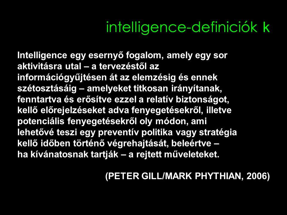 intelligence-definiciók k Intelligence egy esernyő fogalom, amely egy sor aktivitásra utal – a tervezéstől az információgyűjtésen át az elemzésig és ennek szétosztásáig – amelyeket titkosan irányítanak, fenntartva és erősítve ezzel a relatív biztonságot, kellő előrejelzéseket adva fenyegetésekről, illetve potenciális fenyegetésekről oly módon, ami lehetővé teszi egy preventív politika vagy stratégia kellő időben történő végrehajtását, beleértve – ha kívánatosnak tartják – a rejtett műveleteket.