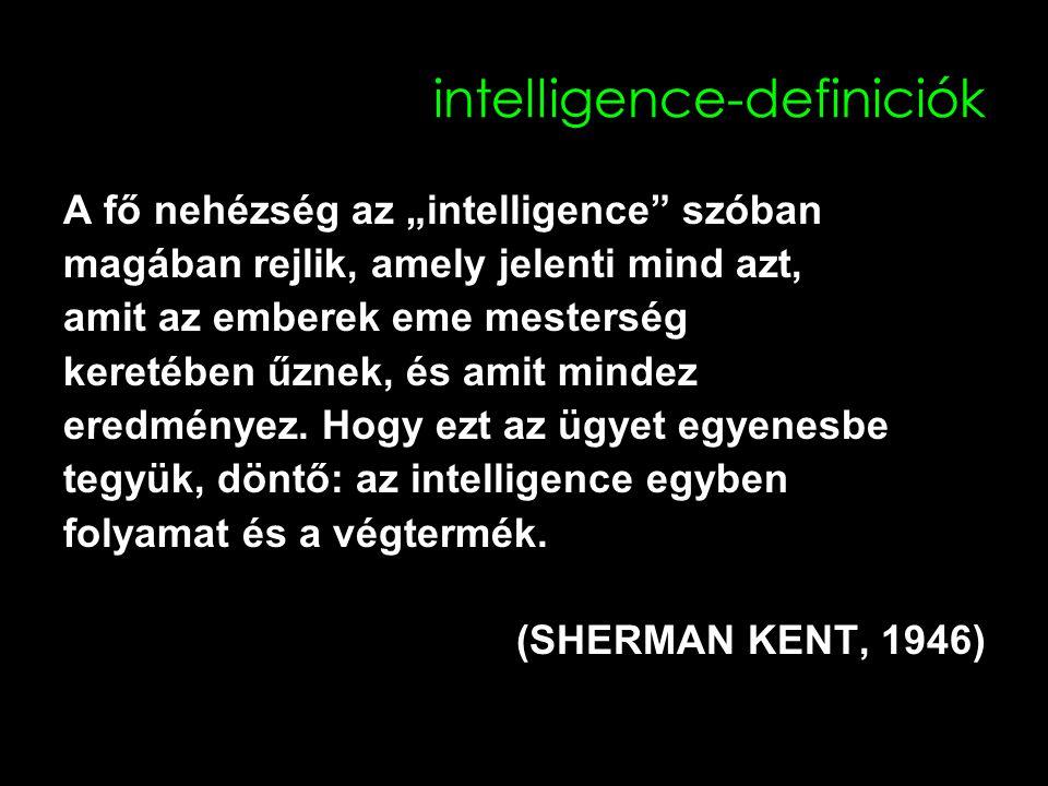 """intelligence-definiciók A fő nehézség az """"intelligence szóban magában rejlik, amely jelenti mind azt, amit az emberek eme mesterség keretében űznek, és amit mindez eredményez."""