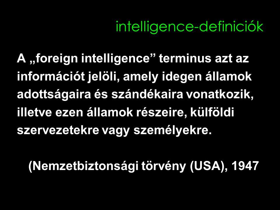 """intelligence-definiciók A """"foreign intelligence terminus azt az információt jelöli, amely idegen államok adottságaira és szándékaira vonatkozik, illetve ezen államok részeire, külföldi szervezetekre vagy személyekre."""
