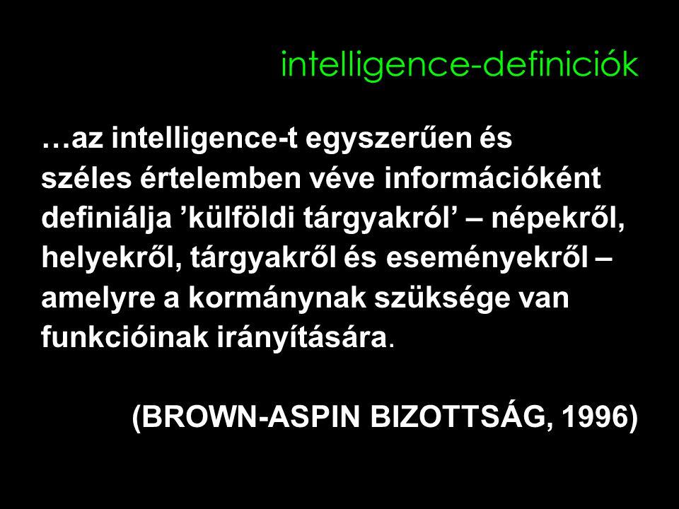 intelligence-definiciók …az intelligence-t egyszerűen és széles értelemben véve információként definiálja 'külföldi tárgyakról' – népekről, helyekről, tárgyakről és eseményekről – amelyre a kormánynak szüksége van funkcióinak irányítására.