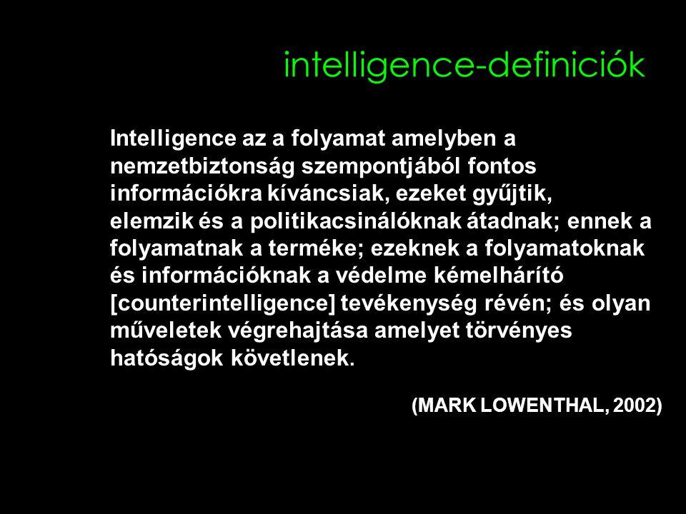 intelligence-definiciók Intelligence az a folyamat amelyben a nemzetbiztonság szempontjából fontos információkra kíváncsiak, ezeket gyűjtik, elemzik és a politikacsinálóknak átadnak; ennek a folyamatnak a terméke; ezeknek a folyamatoknak és információknak a védelme kémelhárító [counterintelligence] tevékenység révén; és olyan műveletek végrehajtása amelyet törvényes hatóságok követlenek.