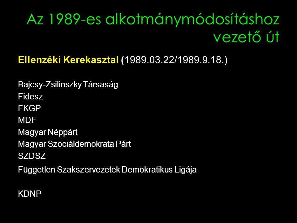 Az 1989-es alkotmánymódosításhoz vezető út Ellenzéki Kerekasztal (1989.03.22/1989.9.18.) Bajcsy-Zsilinszky Társaság Fidesz FKGP MDF Magyar Néppárt Magyar Szociáldemokrata Párt SZDSZ Független Szakszervezetek Demokratikus Ligája KDNP