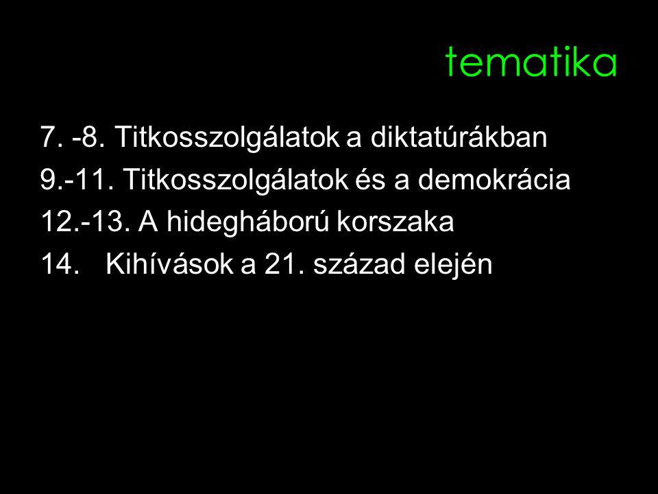 tematika 7. -8. Titkosszolgálatok a diktatúrákban 9.-11. Titkosszolgálatok és a demokrácia 12.-13. A hidegháború korszaka 14.Kihívások a 21. század el