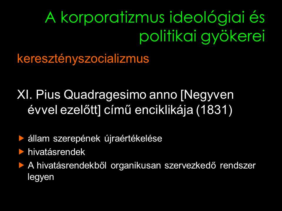 10 A korporatizmus ideológiai és politikai gyökerei keresztényszocializmus XI.