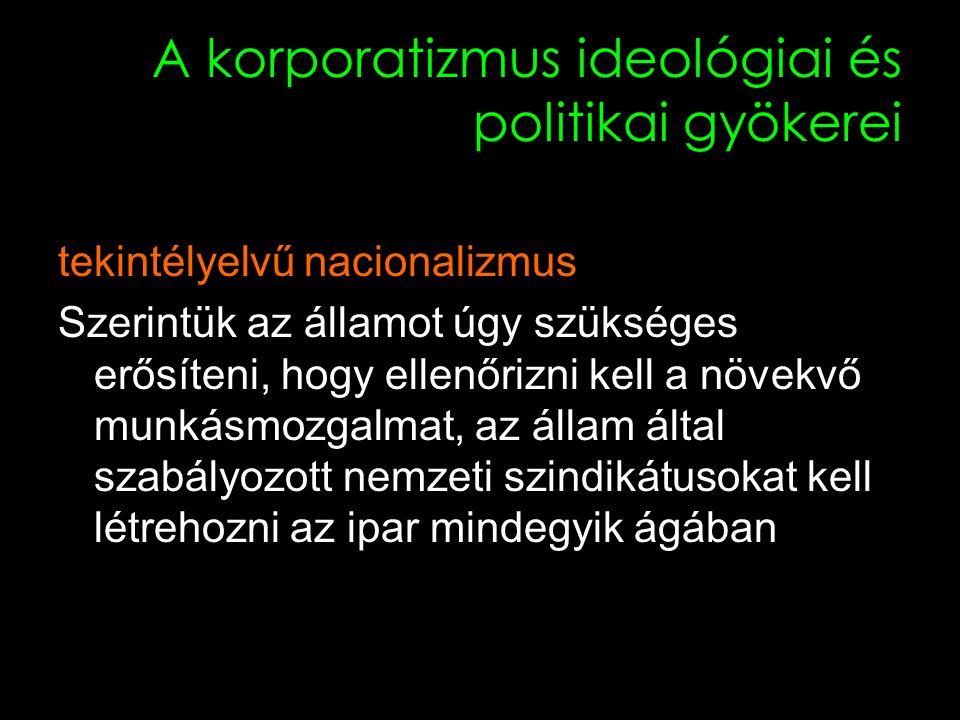 12 A korporatizmus ideológiai és politikai gyökerei tekintélyelvű nacionalizmus Szerintük az államot úgy szükséges erősíteni, hogy ellenőrizni kell a növekvő munkásmozgalmat, az állam által szabályozott nemzeti szindikátusokat kell létrehozni az ipar mindegyik ágában