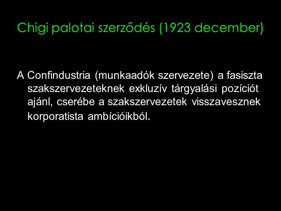 17 Chigi palotai szerződés (1923 december) A Confindustria (munkaadók szervezete) a fasiszta szakszervezeteknek exkluzív tárgyalási pozíciót ajánl, cserébe a szakszervezetek visszavesznek korporatista ambícióikból.