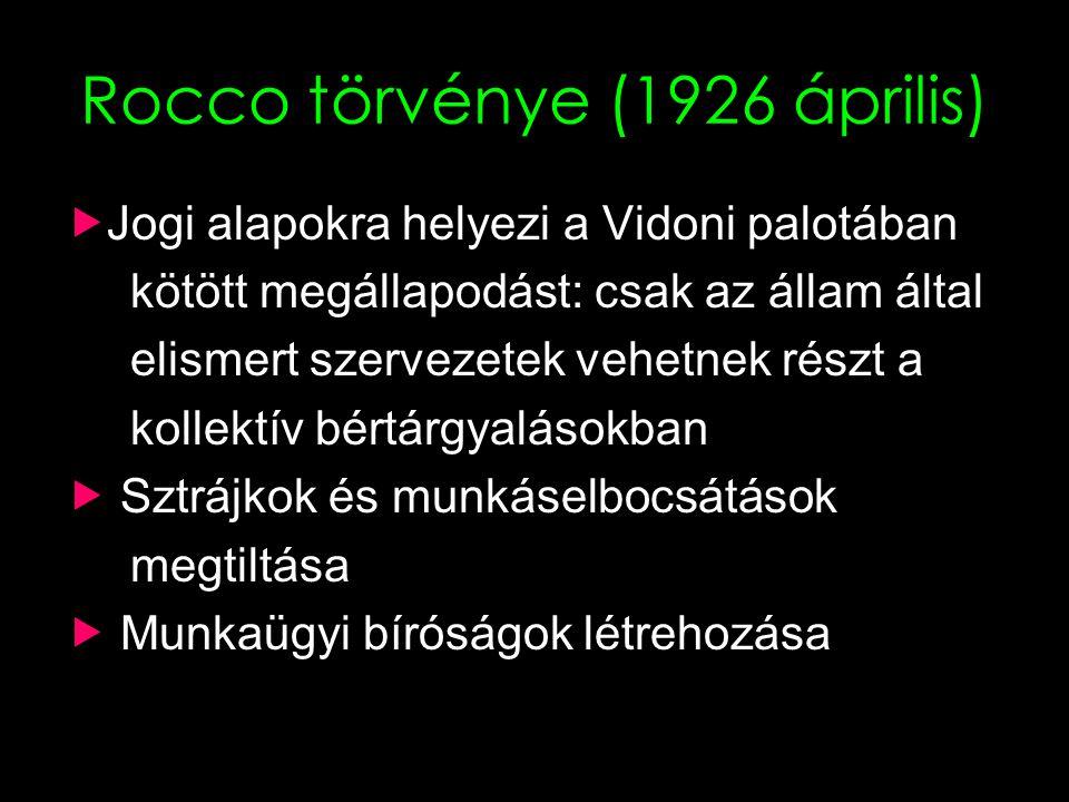 19 Rocco törvénye (1926 április)  Jogi alapokra helyezi a Vidoni palotában kötött megállapodást: csak az állam által elismert szervezetek vehetnek részt a kollektív bértárgyalásokban  Sztrájkok és munkáselbocsátások megtiltása  Munkaügyi bíróságok létrehozása