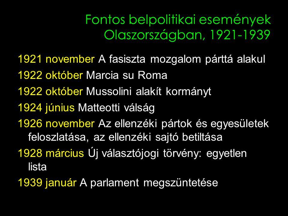 2 Fontos belpolitikai események Olaszországban, 1921-1939 1921 november A fasiszta mozgalom párttá alakul 1922 október Marcia su Roma 1922 október Mussolini alakít kormányt 1924 június Matteotti válság 1926 november Az ellenzéki pártok és egyesületek feloszlatása, az ellenzéki sajtó betiltása 1928 március Új választójogi törvény: egyetlen lista 1939 január A parlament megszüntetése